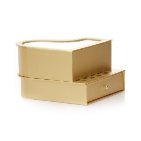 Cutie în formă de pian și inimă cu fereastră - auriu 2 - craftup.ro