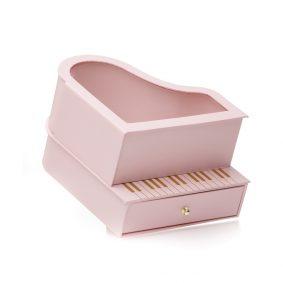 Cutie în formă de pian și inimă cu fereastră - roz 1 - craftup.ro