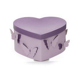 Set 3 cutii inimă cu fluturi - mov 2 - craftup.ro