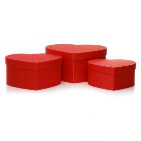 Set 3 cutii inimă satinate - roșu 1 - craftup.ro