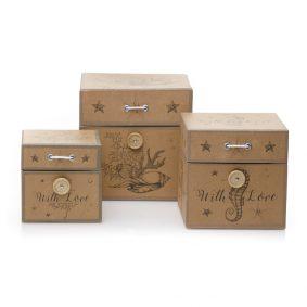 Set 3 cutii pătrate imitație lemn – model with love 1 - craftup.ro