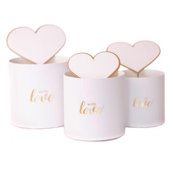 Set 3 cutii rotunde cu inimi - model with love alb 1 - craftup.ro