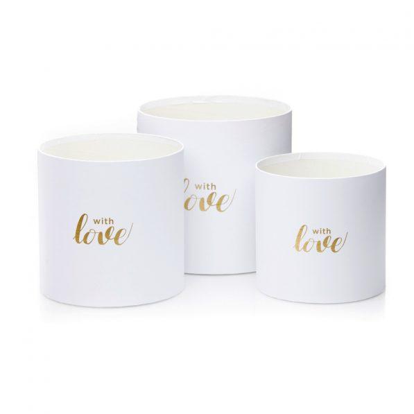 Set 3 cutii rotunde cu inimi - model with love alb 2 - craftup.ro