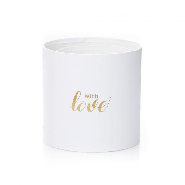 Set 3 cutii rotunde cu inimi - model with love alb 4 - craftup.ro