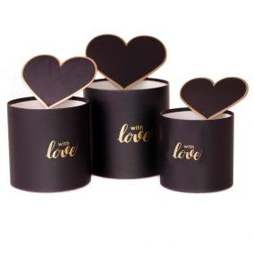 Set 3 cutii rotunde cu inimi - model with love negru 1 - craftup.ro
