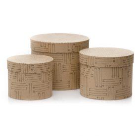 Set 3 cutii rotunde imitație lemn - model linii 1 -craftup.ro