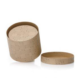 Set 3 cutii rotunde imitație lemn - model linii 2 -craftup.ro