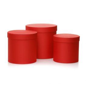 Set 3 cutii rotunde satinate - roșu 1 - craftup.ro