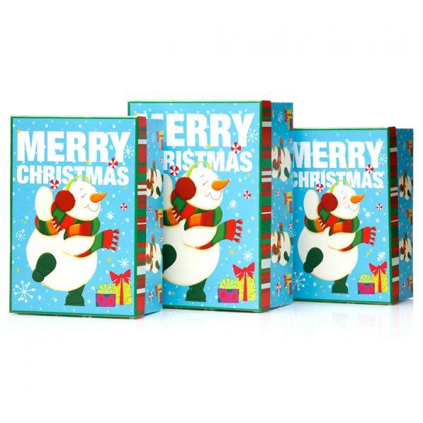 Set 3 cutii dreptunghiulare Crăciun - model om de zăpadă fericit 1 - craftup.ro