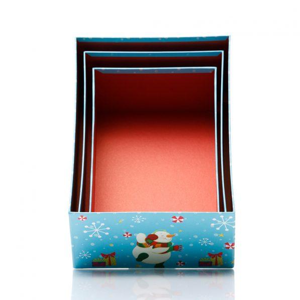 Set 3 cutii dreptunghiulare Crăciun - model om de zăpadă fericit 3 - craftup.ro