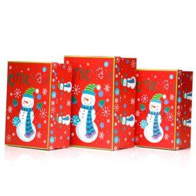 Set 3 cutii dreptunghiulare Crăciun - model om de zăpadă vesel 1 - craftup.ro