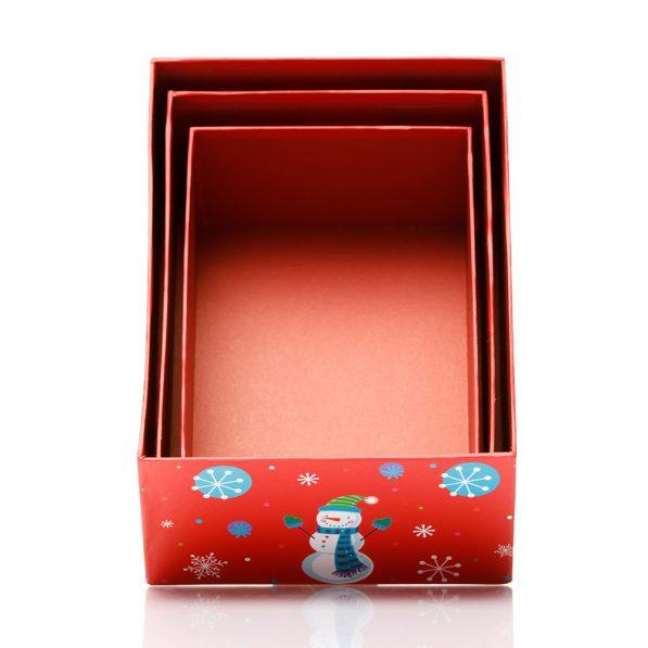 Set 3 cutii dreptunghiulare Crăciun - model om de zăpadă vesel 3 - craftup.ro