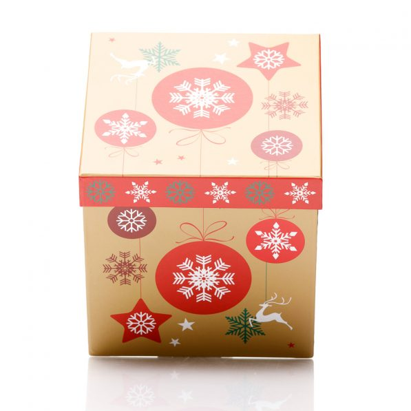 Set 3 cutii pătrate de Crăciun - model globuri multicolore 2 - craftup.ro