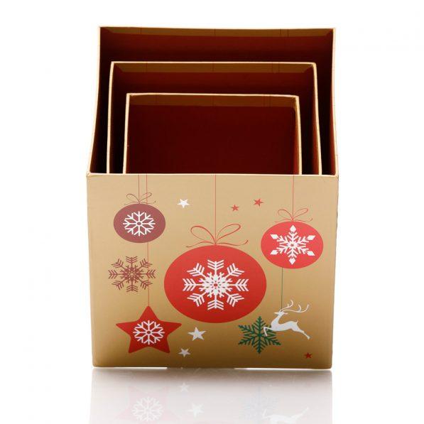 Set 3 cutii pătrate de Crăciun - model globuri multicolore 3 - craftup.ro