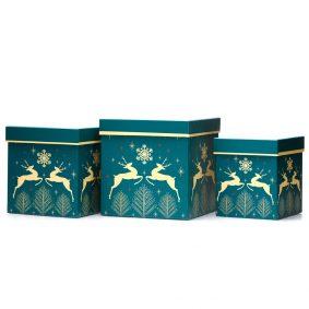 Set 3 cutii pătrate de Crăciun - model renii zăpezii 1 - craftup.ro