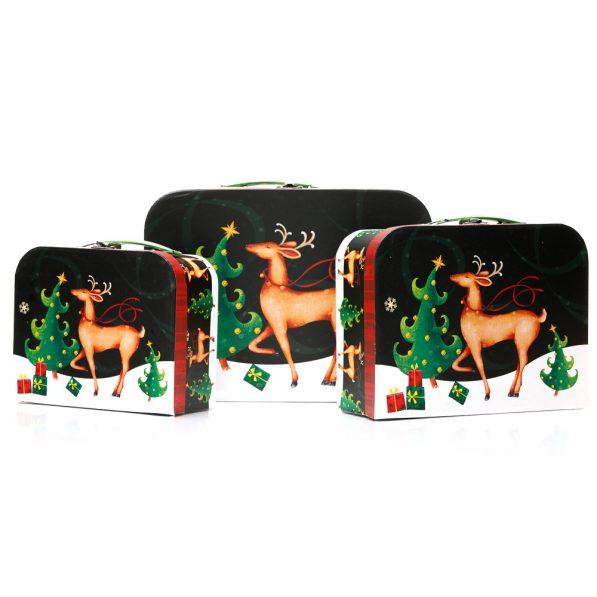 Set 3 cutii tip geantă Crăciun - model Rudolf 1 - craftup.ro