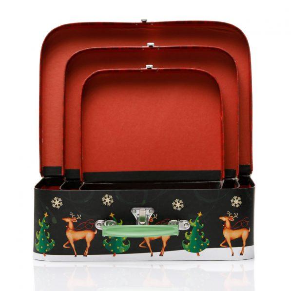 Set 3 cutii tip geantă Crăciun - model Rudolf 3 - craftup.ro