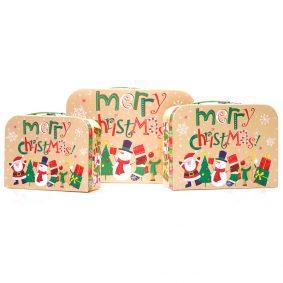 Set 3 cutii tip geantă Crăciun - model familia moșului 1 - craftup.ro