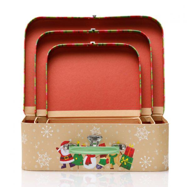 Set 3 cutii tip geantă Crăciun - model familia moșului 3 - craftup.ro