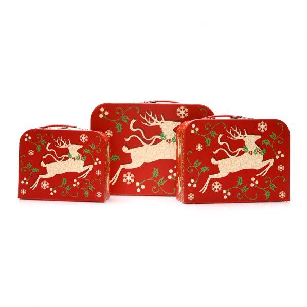 Set 3 cutii tip geantă Crăciun - model reni 1 - craftup.ro