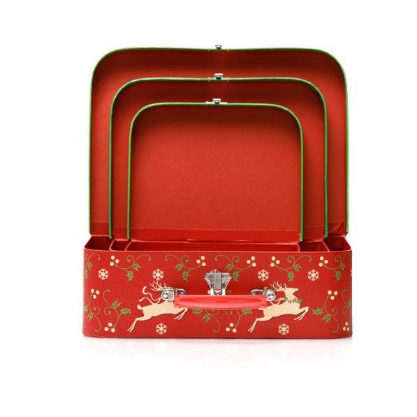 Set 3 cutii tip geantă Crăciun - model reni 3 - craftup.ro