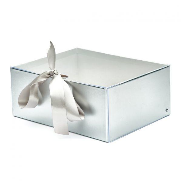 Set 2 cutii dreptunghiulare cu fereastră transparentă și panglică - argintiu 2 - craftup.ro