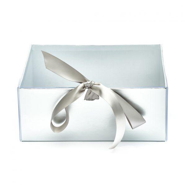 Set 2 cutii dreptunghiulare cu fereastră transparentă și panglică - argintiu 3 - craftup.ro
