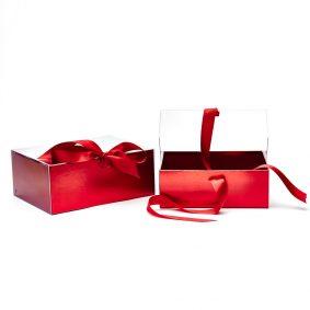 Set 2 cutii dreptunghiulare cu fereastră transparentă și panglică - roșu 1 - craftup.ro