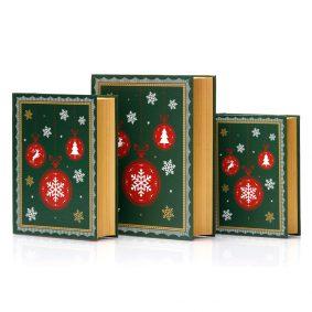 Set 3 cutii carte de Crăciun - model globuri 3 - craftup.ro