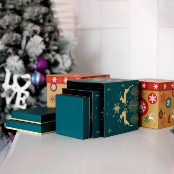 Set 3 cutii pătrate de Crăciun - mix 1 - craftup.ro