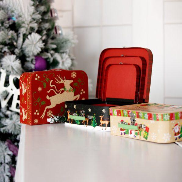 Set 3 cutii tip geantă Crăciun - mix 1 - craftup.ro