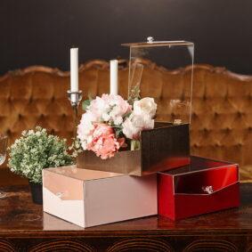 Cutie pătrată cu fereastră și mâner rotund