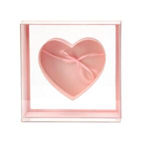 Cutie pătrată cu inimă în interior - roz 1 - craftup.ro