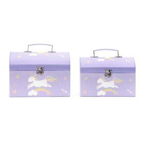 Set 2 cutii cufăr - model unicorn mov 1 - craftup.ro