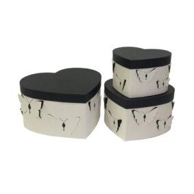 Set 3 cutii inimă cu fluturi - alb 1 - craftup.ro