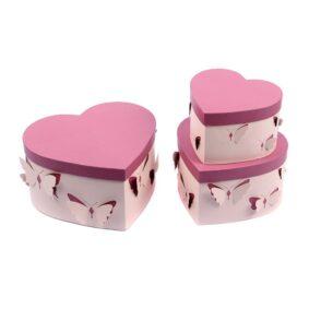 Set 3 cutii inimă cu fluturi - roz 1 - craftup.ro