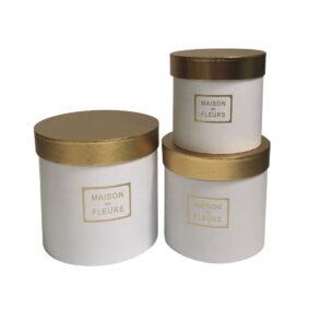 Set 3 cutii rotunde Maison des Fleurs cu capac auriu - alb 1