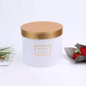 Set 3 cutii rotunde Maison des Fleurs cu capac auriu - alb 2