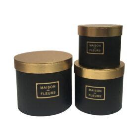 Set 3 cutii rotunde Maison des Fleurs cu capac auriu - negru 1