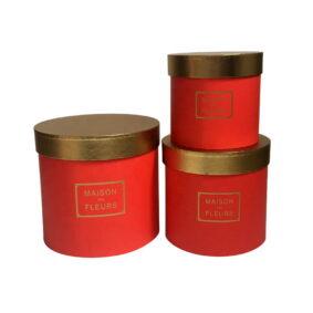 Set 3 cutii rotunde Maison des Fleurs cu capac auriu - roșu 1
