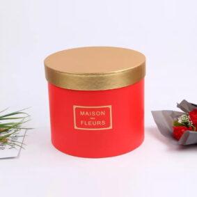 Set 3 cutii rotunde Maison des Fleurs cu capac auriu - roșu 2