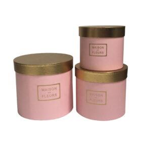 Set 3 cutii rotunde Maison des Fleurs cu capac auriu - roz 1