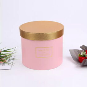 Set 3 cutii rotunde Maison des Fleurs cu capac auriu - roz 2