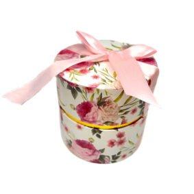Cutie rotundă cu fundă - model flori roz 1 - craftup.ro