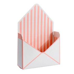 Cutii tip plic - roz cu dungi albe 2 - craftup.ro