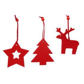 Set 3 ornamente de brad – roșu 1