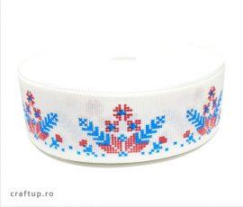 Bandă decorativă -Tafina 25mm - fulg de nea albastru