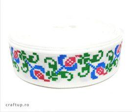 Bandă decorativă -Tafina 25mm- trandafir albastru