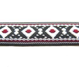 Bandă decorativă cu romburi și interior colorat, bumbac - 2 - craftup.ro