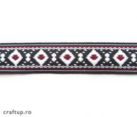 Bandă decorativă cu romburi și interior colorat, bumbac - 1 - craftup.ro
